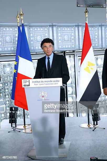 President of the 'Institut du Monde Arabe' Jack Lang attends the Inauguration of the 'Osiris Mysteres Engloutis d'Egypte' at Institut du Monde Arabe...