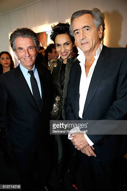 President of the 'Institut du Monde Arabe' Jack Lang Farida Khelfa and BernardHenri Levy attend Arielle Dombasle presents her Perfume 'Le secret...