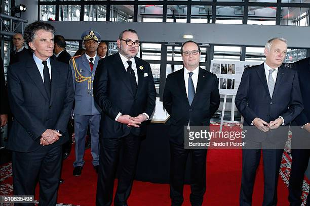 President of the 'Institut du Monde Arabe' Jack Lang King Mohammed VI of Morocco French President Francois Hollande and Minister of Foreign Affairs...