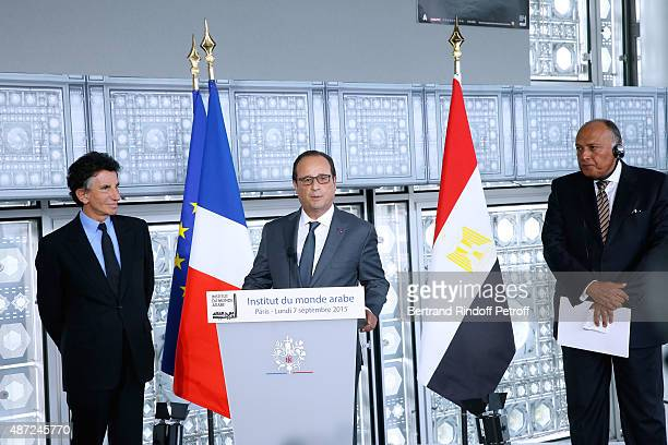 President of the 'Institut du Monde Arabe' Jack Lang, President of the French Republic Francois Hollande and Foreign Minister of Egypt Sameh Shoukry...