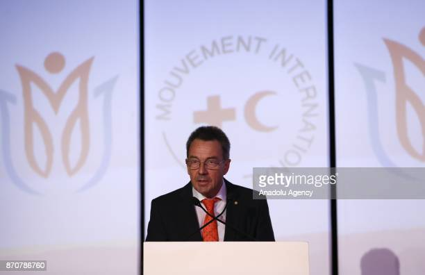 President of the International Committee of the Red Cross Peter Maurer delivers a speech during the opening ceremony of General Assembly of...