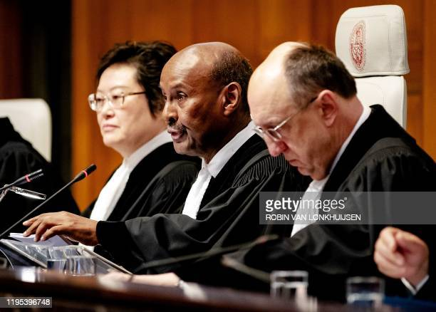 President of the International Court of Justice Abdulqawi Ahmed Yusuf speaks during the ruling of the International Court of Justice in The Hague on...