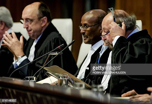 President of the International Court of Justice Ronny Abraham gestures prior to the hearing on the border dispute between Colombia and Nicaragua in...