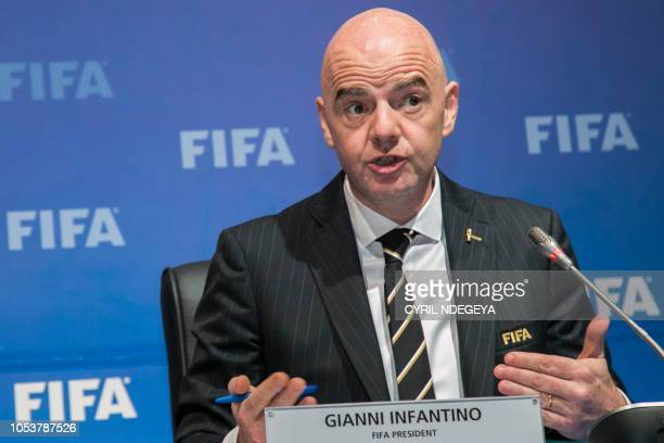 President of the International Federation of Association Football Gianni Infantino speaks during a press conference on October 26 after a FIFA...