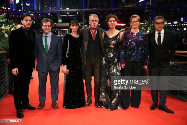 President of the International Jury Jeremy Irons with jury members Luca Marinelli, Kenneth Lonergan, Berenice Bejo, Annemarie Jacir, Bettina...