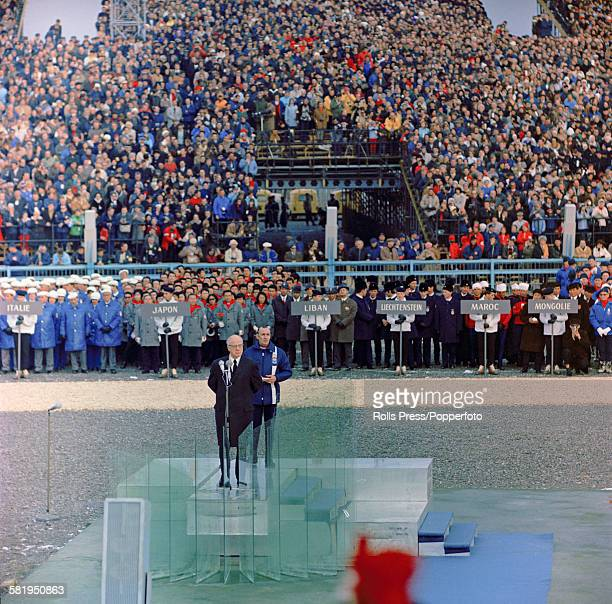 President of the International Olympic Committee Avery Brundage speaks at the opening ceremony of the 1968 Winter Olympics at Grenoble in France on...
