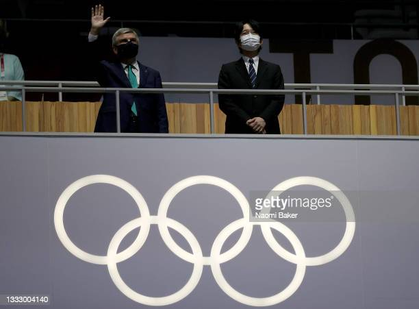 President of the International Olympic Committee, Thomas Bach and His Imperial Highness Crown Prince, Akishino during the Closing Ceremony of the...