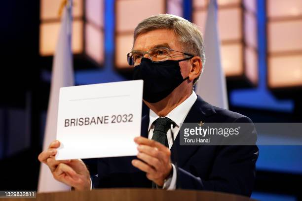 President of the International Olympic Committee Thomas Bach announces Brisbane as the 2032 Summer Olympics host city during the 138th IOC Session at...