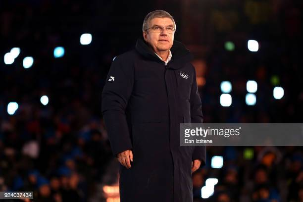 President of the International Olympic Committee Thomas Bach participates in the Olympic flag handover ceremony during the Closing Ceremony of the...