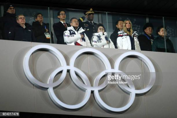 President of the International Olympic Committee Thomas Bach, President Moon Jae-in of South Korea, South Korean first lady Kim Jung-sook and Ivanka...