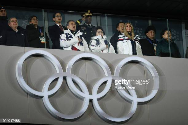 President of the International Olympic Committee Thomas Bach President Moon Jaein of South Korea South Korean first lady Kim Jungsook and Ivanka...