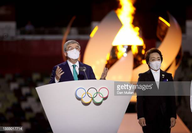 President of the International Olympic Committee, Thomas Bach speaks during the Closing Ceremony of the Tokyo 2020 Olympic Games at Olympic Stadium...