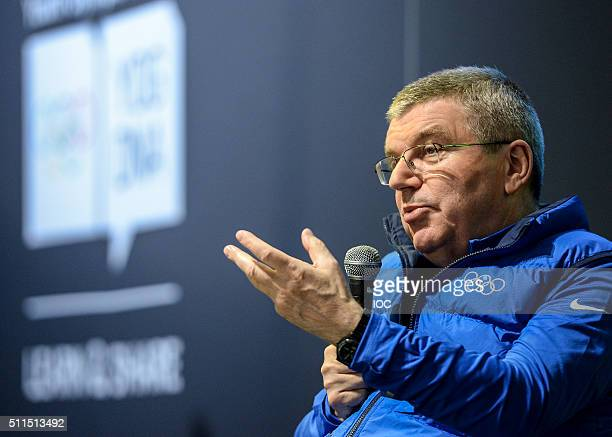 President of the International Olympic Committee Thomas Bach speaks during the Closing Press Conference of the Lillehammer 2016 Winter Youth Olympic...