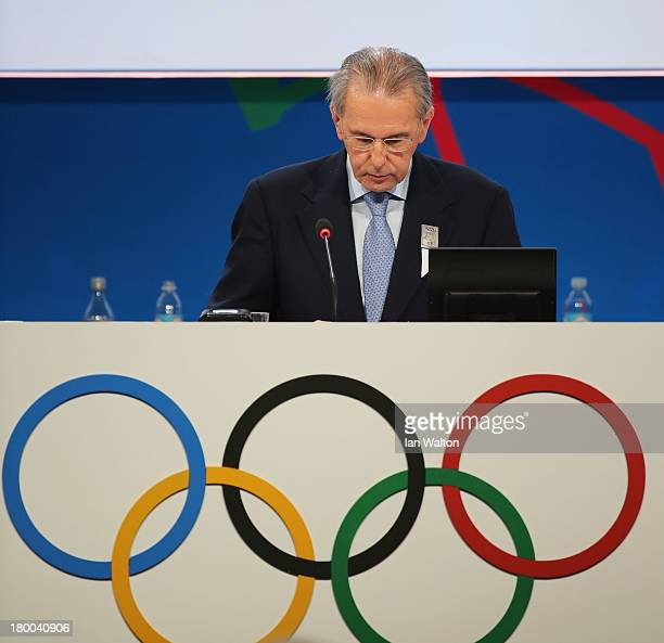 President of the IOC Jacques Rogge during the 125th IOC Session New Sport Announcement at the Hilton Hotel on September 8 2013 in Buenos Aires...