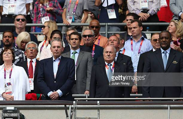 President of the IOC Jacques Rogge FIFA President Sepp Blatter and CONCACAF President Jeffrey Webb look on ahead of the Men's Football Final between...