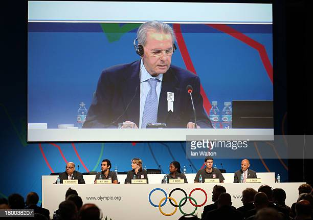 President of the IOC Jacques Rogge speaks during a World Squash Federation presentation during the 125th IOC Session New Sport Announcement at the...
