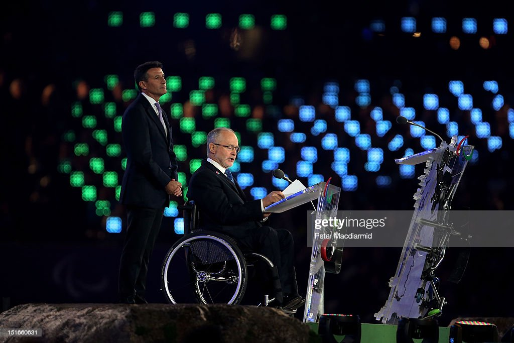 President of the IPC Sir Philip Craven MBE addresses the crowd as Chairman Lord Sebastian Coe looks on during the closing ceremony on day 11 of the London 2012 Paralympic Games at Olympic Stadium on September 9, 2012 in London, England.