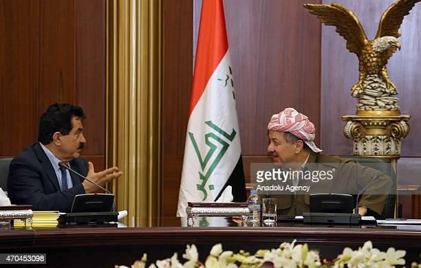 President of the Iraqi Kurdish Regional Government Masoud Barzani and Vice-President of Iraqi Kurdish Regional Government Kosrat Rasul talk to each...