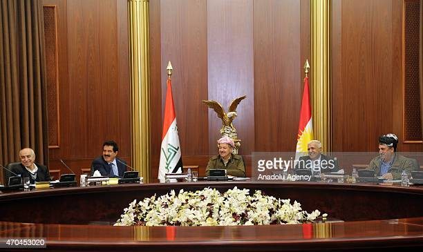 President of the Iraqi Kurdish Regional Government Masoud Barzani meets with KRG's political party's leaders and representatives to talk about...