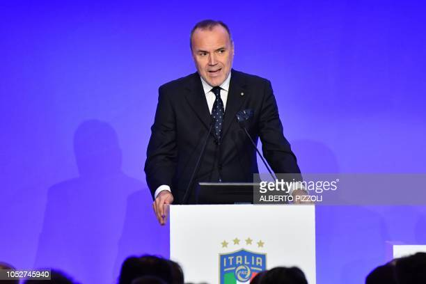President of the Italian Lega B Mauro Balata addresses the elective assembly of the Italian Football Federation on October 22 2018 at the Hilton...