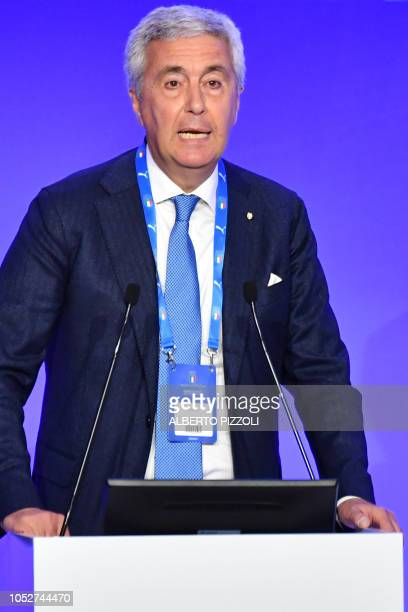 President of the Italian Lega Nazionale Dilettanti the National Amateur League Cosimo Sibilia speaks during the elective assembly of the Italian...