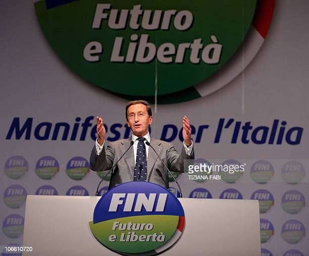 President of the Italian lowerhouse Gianfranco Fini delivers a speech during the first convetion of the new political party Futuro e Liberta' in...