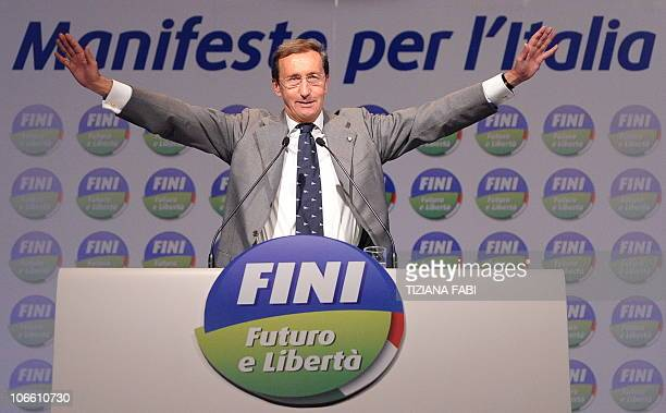 President of the Italian lowerhouse Gianfranco Fini gestures during the first convetion of the new political party Futuro e Liberta' in Perugia on...
