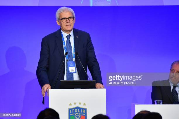 President of the Italian Referees Association Marcello Nicchi speaks during the elective assembly of the Italian Football Federation on October 22...