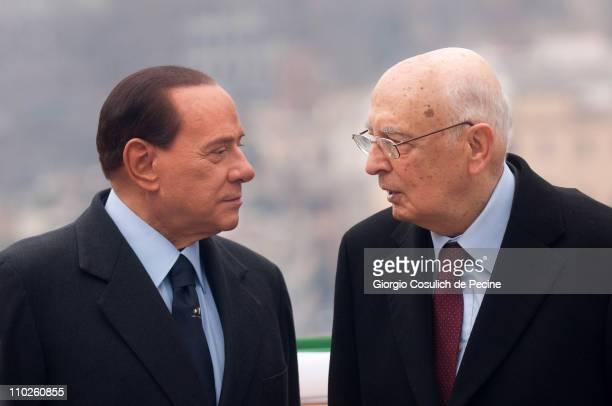 President of the Italian Republic Giorgio Napolitano and Prime Minister Silvio Berlusconi attend a ceremony to mark the 150th anniversary of Italy's...