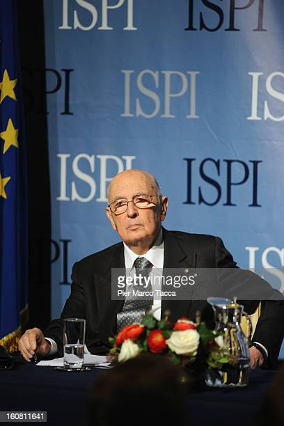 President of the Italian Republic Giorgio Napolitano attends a conference at the ISPI to Palazzo Clerici on February 6 2013 in Milan Italy During his...