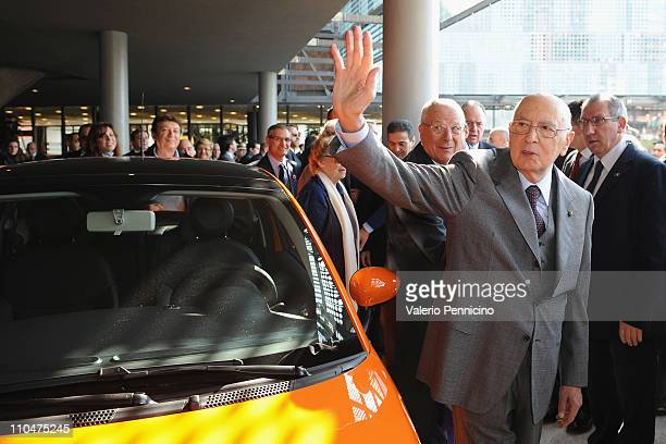 President of the Italian Republic Giorgio Napolitano salutes during a ceremony to mark the 150th anniversary of Italy's unification at the new...