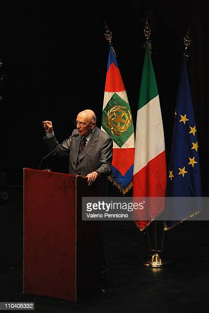 President of the Italian Republic Giorgio Napolitano speaks at a ceremony to mark the 150th anniversary of Italy's unification at the Teatro Regio on...