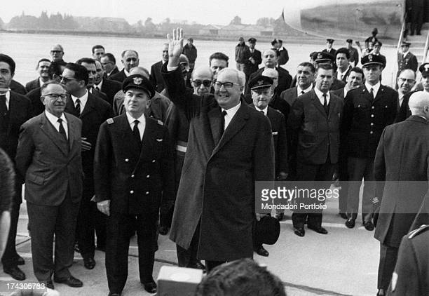 President of the Italian Republic Giuseppe Saragat raising his arm to greet Giuseppe Saragat visited the Ignis factory in Cassinetta di Biandronno...
