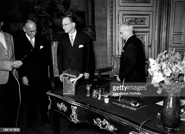President of the Italian Republic Luigi Einaudi receiving the president of the Council of Ministers Alcide De Gasperi and general secretary of the...