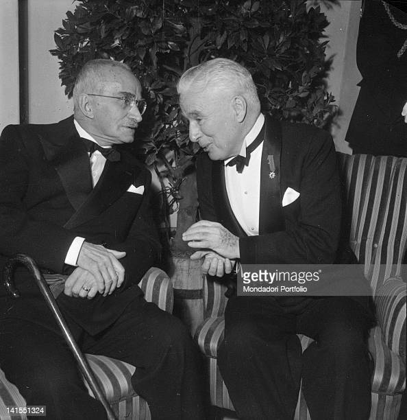 President of the Italian Republic Luigi Einaudi speaking with British actor Charlie Chaplin Rome 1952