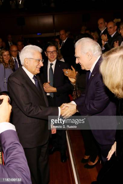 "President of the Italian Republic Sergio Mattarella, Antonio Monda and Director Martin Scorsese attends the ""The Irishman"" screening during the 14th..."