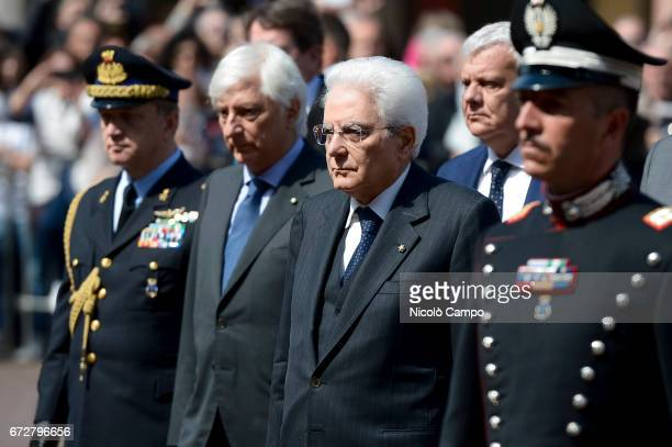 President of the Italian Republic Sergio Mattarella is pictured during his visit to Carpi for the celebrations of the Liberation Day of Italy