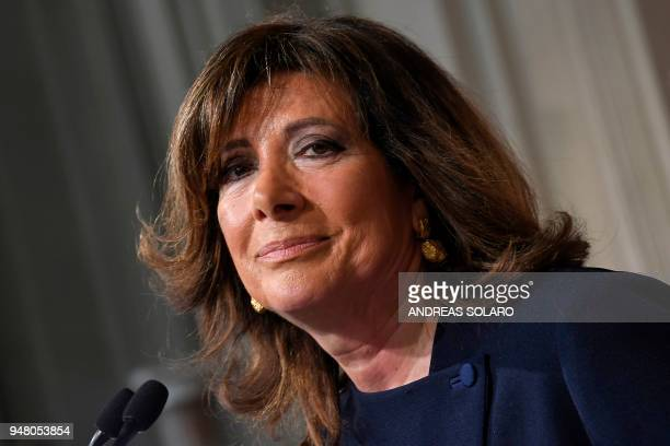 President of the Italian Senate and Forza Italia member Maria Elisabetta Alberti Casellati speaks during a press conference after a meeting with the...