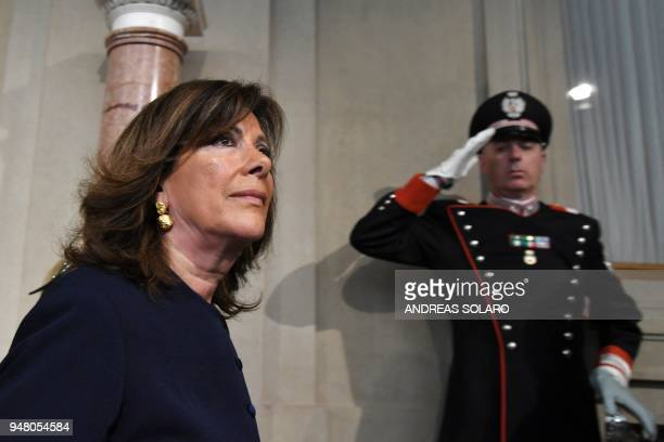 President of the Italian Senate and Forza Italia member Maria Elisabetta Alberti Casellati leaves after a meeting with the Italian President who gave...