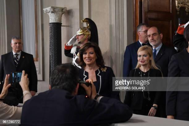 President of the Italian Senate and Forza Italia member Maria Elisabetta Alberti Casellati leaves after a meeting with Italian President Sergio...