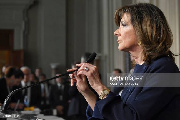 President of the Italian Senate and Forza Italia member Maria Elisabetta Alberti Casellati answers journalists' questions after a meeting with the...