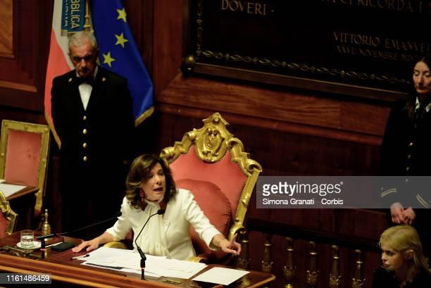 President of the Italian Senate Maria Elisabetta Alberti Casellati presides over a the upper house as the Italian senate vote on a date for a...