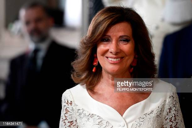 President of the Italian Senate Maria Elisabetta Alberti Casellati leaves following a meeting with the Italian President as part of a second round of...