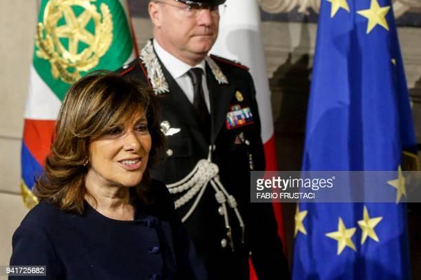President of the Italian Senate Maria Elisabetta Alberti Casellati leaves after a meeting with Italian President Sergio Mattarella on the first day...