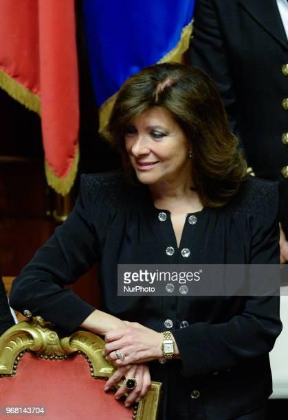 President of the Italian Senate Maria Elisabetta Alberti Casellati attend the confidence vote for the new government at the Italian Senate on June 5...