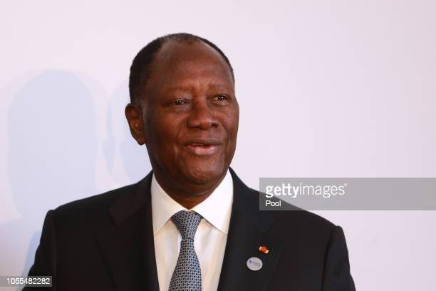 President of the Ivory Coast Alassane Ouattara is seen at the G20 Investment Summit - German Business and the CwA Countries on October 30, 2018 in...