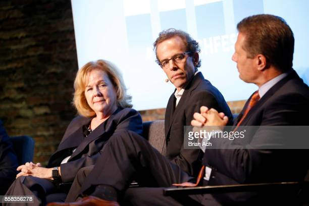 President of the James Beard Foundation Susan Ungaro Chef and CoOwner of Blue Hill Dan Barber and CEO of HMSHost Steve Johnson speak onstage during...