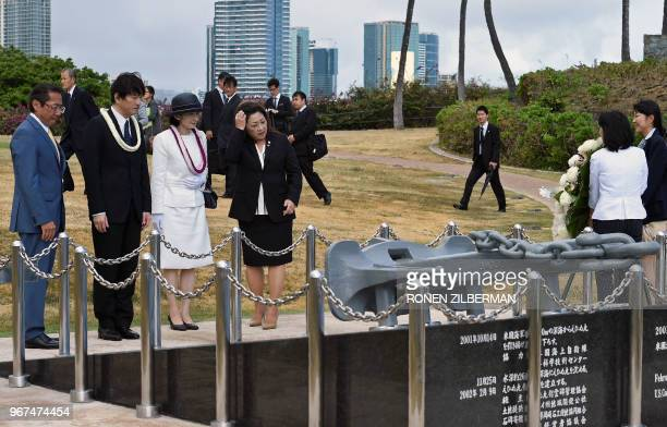 President of the JapanAmerica Society of Hawaii Sal Miwa Japan's Prince Akishino Princess Kiko and VicePresident of the JapanAmerica Society of...