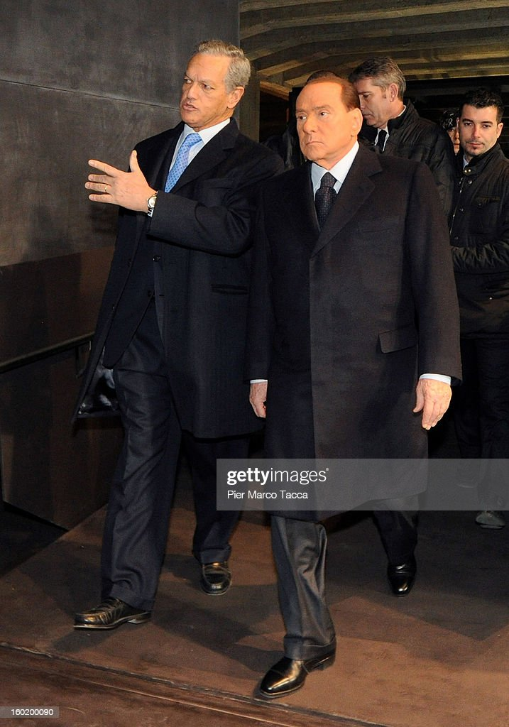 President of the Jewish community of Milan, Roberto Jarach and Silvio Berlusconi attend the opening of 'Memoriale della Shoa' on International Holocaust Remembrance Day on January 27, 2013 in Milan, Italy. 'Memoriale della Shoa' is located at Platform 21 (Binario 21), which formed part of a secret underground rail network that transported hundreds of Jews to camps such as Auschwitz and Dachau, from1943 to 1945.