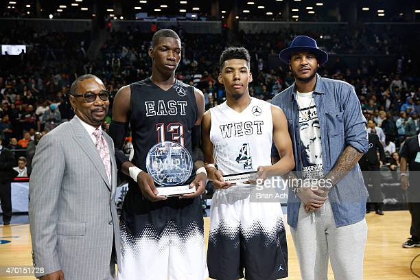 President of the Jordan Brand Larry Miller East Team MVP Cheick Diallo West Team MVP Allonzo Trier and Jordan Brand athlete Carmelo Anthony at the...